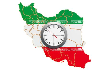 Time Zones in Iran concept. 3D rendering isolated on white background