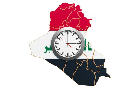 Time Zones in Iraq concept. 3D rendering isolated on white background 写真素材