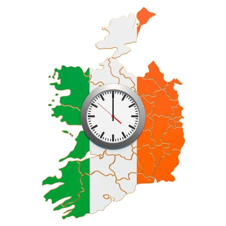 Time Zones in Ireland concept. 3D rendering isolated on white background