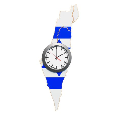 Time Zones in Israel concept. 3D rendering isolated on white background