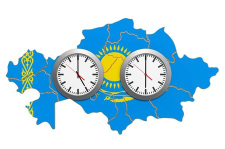 Time Zones in Kazakhstan concept. 3D rendering isolated on white background