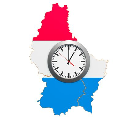 Time Zones in Luxembourg concept. 3D rendering isolated on white background