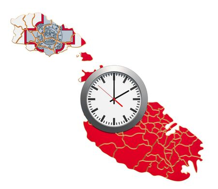 Time Zones in Malta concept. 3D rendering isolated on white background