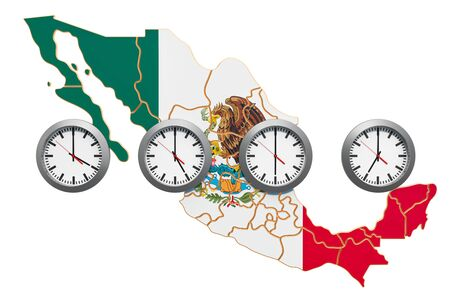 Time Zones in Mexico concept. 3D rendering isolated on white background