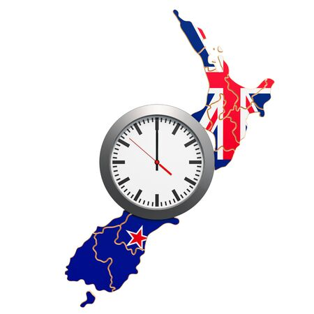 Time Zones in New Zealand concept. 3D rendering isolated on white background 写真素材