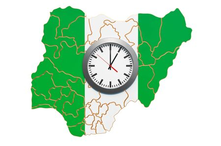 Time Zones in Nigeria concept. 3D rendering isolated on white background 写真素材