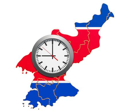 Time Zones in North Korea concept. 3D rendering isolated on white background