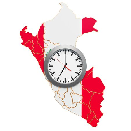 Time Zones in Peru concept. 3D rendering 写真素材