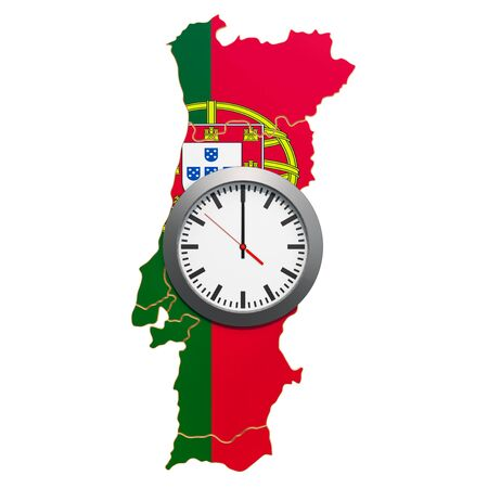 Time Zones in Portugal concept. 3D rendering isolated on white background 写真素材