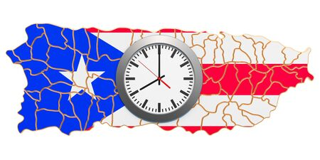 Time Zones in Puerto Rico concept. 3D rendering isolated on white background 写真素材