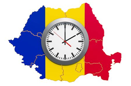 Time Zones in Romania concept. 3D rendering isolated on white background