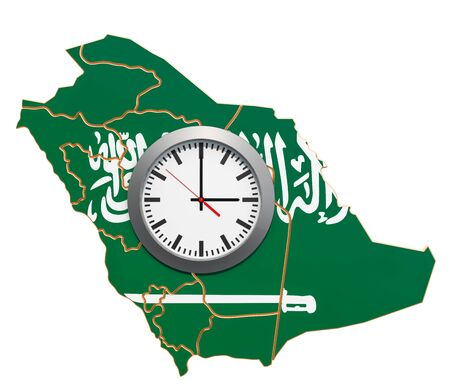 Time Zones in Saudi Arabia concept. 3D rendering isolated on white background