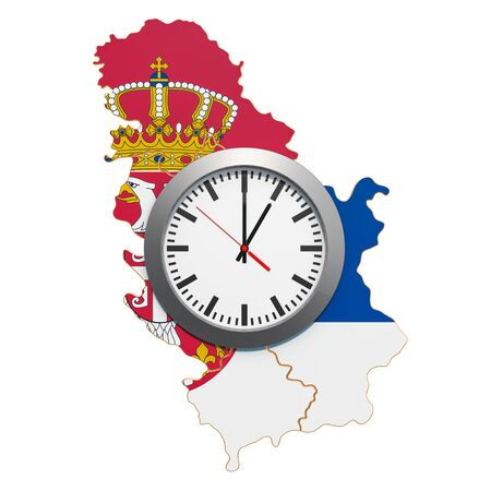 Time Zones in Serbia concept. 3D rendering isolated on white background