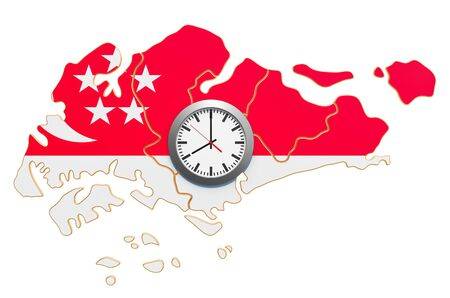 Time Zones in Singapore concept. 3D rendering isolated on white background