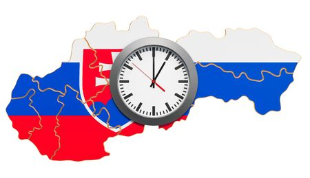 Time Zones in Slovakia concept. 3D rendering isolated on white background