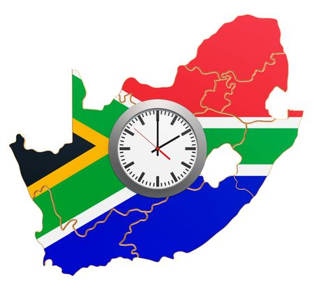 Time Zones in South Africa concept. 3D rendering isolated on white background 写真素材