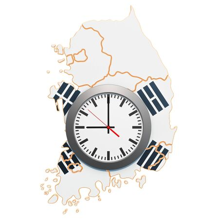 Time Zones in South Korea concept. 3D rendering isolated on white background Stok Fotoğraf