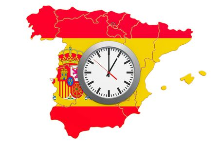 Time Zones in Spain concept. 3D rendering isolated on white background