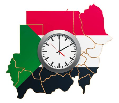 Time Zones in Sudan concept. 3D rendering isolated on white background