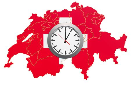 Time Zones in Switzerland concept. 3D rendering 写真素材