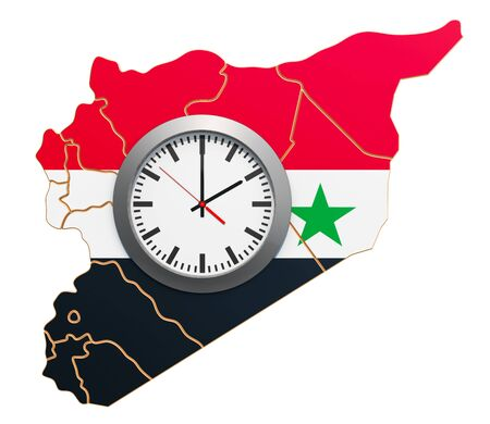 Time Zones in Syria concept. 3D rendering isolated on white background