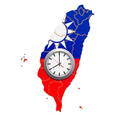 Time Zones in Taiwan concept. 3D rendering isolated on white background Stock Photo