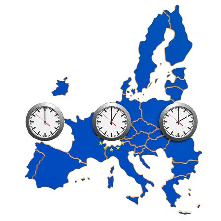 Time Zones in the European Union concept. 3D rendering isolated on white background
