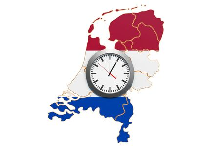 Time Zones in the Netherlands concept. 3D rendering isolated on white background 写真素材