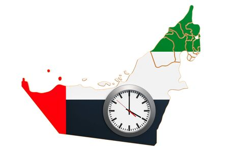 Time Zones in the United Arab Emirates concept. 3D rendering isolated on white background 写真素材