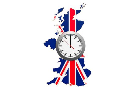 Time Zones in the United Kingdom concept. 3D rendering isolated on white background