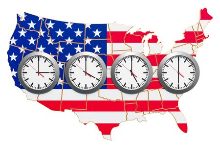 Time Zones in the United States concept. 3D rendering isolated on white background