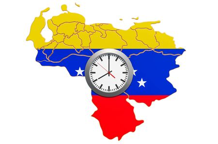 Time Zones in Venezuela concept. 3D rendering isolated on white background