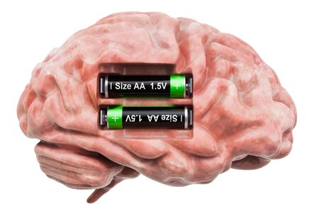 Human brain with batteries. Recovery and treatment concept. 3D rendering isolated on white background