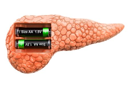 Human pancreas with batteries. Recovery and treatment concept. 3D rendering isolated on white background