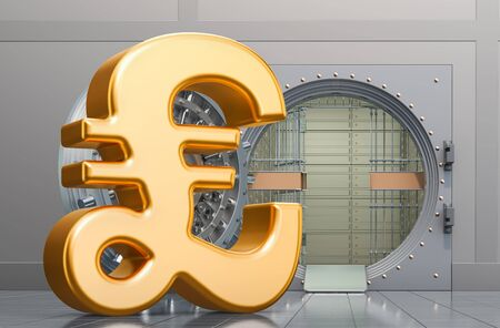 Pound sterling sign with opened bank vault, 3D rendering isolated on white background Imagens