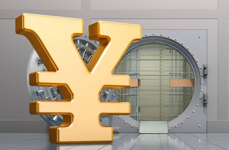 Yen or yuan symbol sign with opened bank vault, 3D rendering isolated on white background