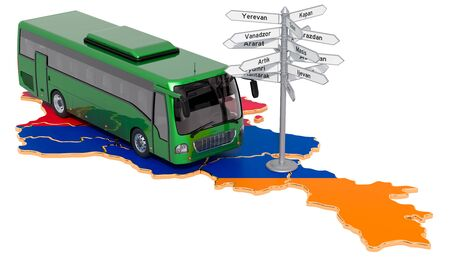 Armenia Bus Tours concept. 3D rendering isolated on white background