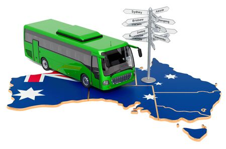 Australia Bus Tours concept. 3D rendering isolated on white background