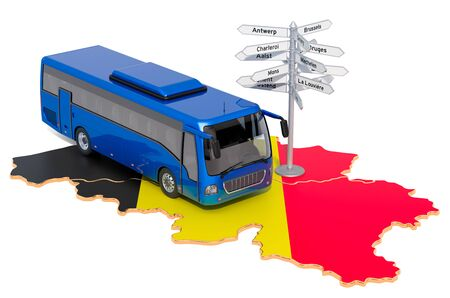 Belgium Bus Tours concept. 3D rendering isolated on white background Stock Photo