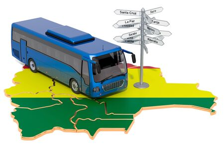 Bolivia Bus Tours concept. 3D rendering isolated on white background
