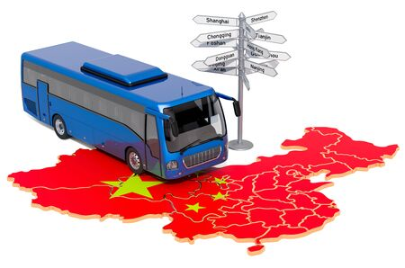 China Bus Tours concept concept. 3D rendering isolated on white background Фото со стока