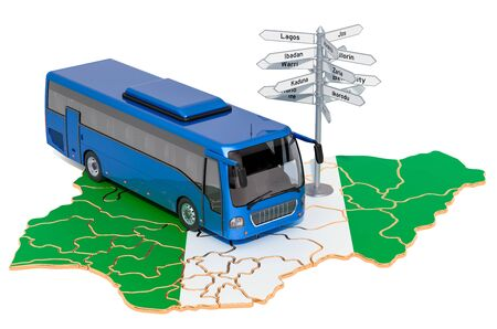 Nigeria Bus Tours concept. 3D rendering isolated on white background Stock Photo