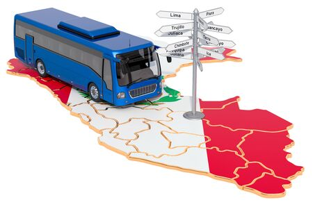 Peru Bus Tours concept. 3D rendering isolated on white background