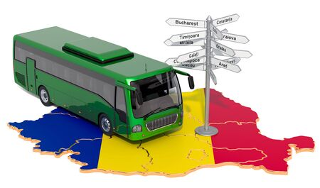 Romania Bus Tours concept. 3D rendering isolated on white background