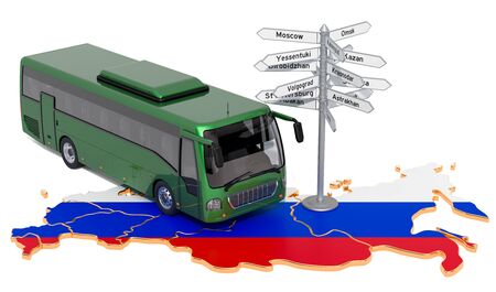Russian Federation Bus Tours concept. 3D rendering isolated on white background 스톡 콘텐츠