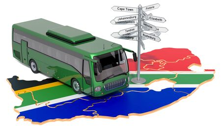 South Africa Bus Tours concept. 3D rendering isolated on white background Stock Photo