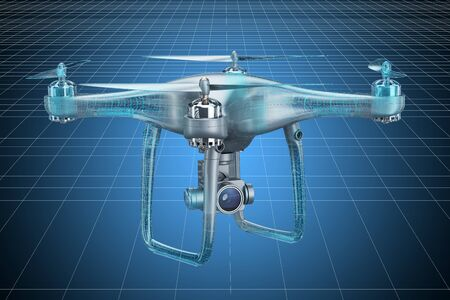 Visualization 3d cad model of drone quadrocopter, blueprint. 3D rendering