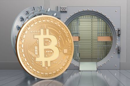 Bitcoin with opened bank vault, 3D rendering