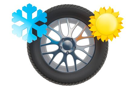 Car Wheel with sun and snowflake. Winter and summer tires concept, 3D rendering isolated on white background