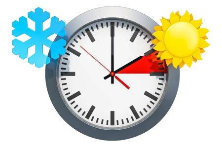 Daylight Saving Time concept. 3D rendering isolated on white background